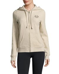 True Religion - Natural Oatmeal Heathered Printed Hoodie - Lyst