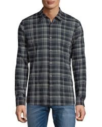 John Varvatos - Blue Mayfield Plaid Casual Button-down Shirt for Men - Lyst