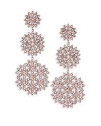 Adriana Orsini - Metallic Pavé Snowflake Drop Earrings - Lyst