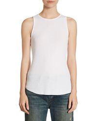 Vince - White Textured Tank Top - Lyst