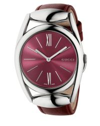 Gucci - Red Horsebit Stainless Steel & Leather Strap Watch - Lyst