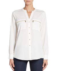 CALVIN KLEIN 205W39NYC - White Roll-sleeve Blouse - Lyst