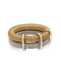 Alor - Diamond, 18k Yellow Gold & Stainless Steel Layered Coil Bracelet - Lyst