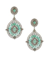 Bavna - Metallic Champagne Diamond, Emerald & Sterling Silver Champ Rose Earrings - Lyst