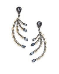 Alexis Bittar - Metallic Elements Dark Alchemy Hematite & Crystal Feather Drop Earrings - Lyst
