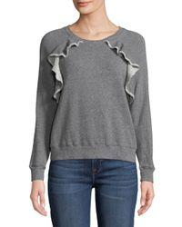 Splendid - Gray Ruffle-trim Sweatshirt - Lyst