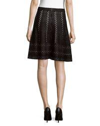 Saks Fifth Avenue Black - Black Flare Mini Skirt - Lyst