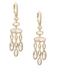Adriana Orsini - Metallic Oval Chandelier Earrings - Lyst