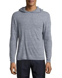 Saks Fifth Avenue - Blue Heathered Linen Hoodie for Men - Lyst