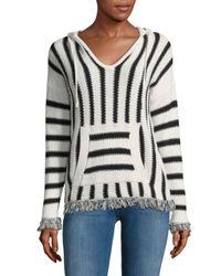Saks Fifth Avenue - Black Stripe Knit Hoodie - Lyst