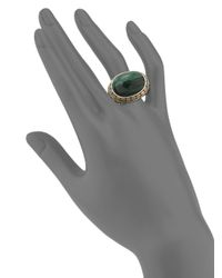 John Hardy - Green Batu Dot Malachite, 18k Yellow Gold & Sterling Silver Dome Ring - Lyst