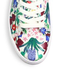 Alice + Olivia - Blue Pemton Floral-print Nappa Leather Platform Sneakers - Lyst