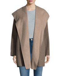 Vince - Multicolor Hooded Open Front Coat - Lyst