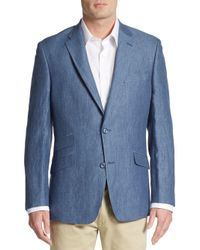 Tommy Hilfiger - Blue Regular-fit Linen Blazer for Men - Lyst
