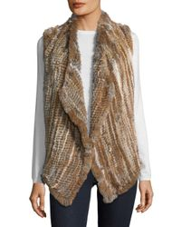 Saks Fifth Avenue - Natural Asymmetrical Rabbit Fur Vest - Lyst