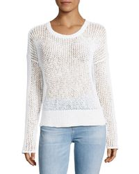 James Perse - White Long-sleeve Open-stitch Top - Lyst