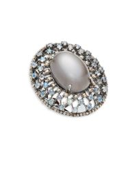 Bavna - Metallic Moonstone, Rainbow Moonstone & Sterling Silver Statement Ring - Lyst