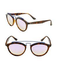 Ray-Ban - Brown Round Aviator Sunglasses - Lyst