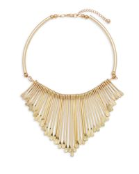 Kenneth Jay Lane | Metallic Polished Goldtone Bib Necklace | Lyst