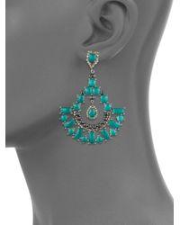 Bavna   Diamond, Green Onyx, Black Spinel & Sterling Silver Earrings   Lyst