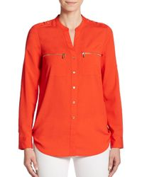 Calvin Klein - Red Roll-sleeve Blouse - Lyst