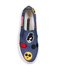 Alice + Olivia - Blue Pia Emoji Slip-on Sneakers - Lyst