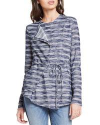 BCBGeneration - Blue Striped Slub-knit Asymmetric Jacket - Lyst