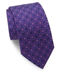 Ike Behar | Purple Floral Medallion Silk Tie for Men | Lyst