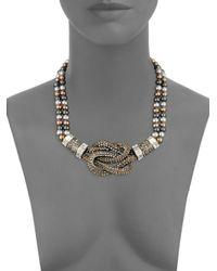 Heidi Daus - Metallic Multi Glass Pearl Knot Statement Necklace - Lyst