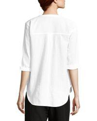 Eileen Fisher - White Organic Cotton Gauze Button-down Shirt - Lyst