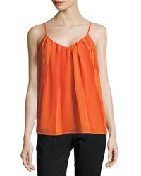 Trina Turk - Orange Pleated Cami Blouse - Lyst