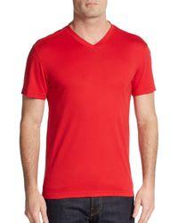 Saks Fifth Avenue - Red Slim V-neck Pima Cotton Tee for Men - Lyst