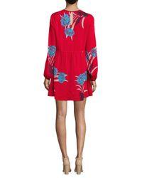 Diane von Furstenberg Red Floral Crewneck Mini Dress