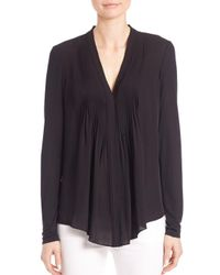 Elie Tahari - Black Willow Pleated-front Silk Blouse - Lyst