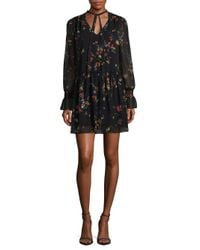 Laundry by Shelli Segal - Black Printed Tie Neck Dress - Lyst