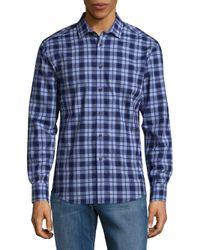 Vince Camuto - Blue Plaid Cotton Button-down Shirt for Men - Lyst