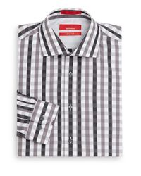 Saks Fifth Avenue - Gray Trim-fit Checked Cotton Shirt for Men - Lyst