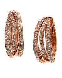 Effy - Metallic Diamond And 14K Rose Gold Hoop Earrings, 0.52 Tcw - Lyst