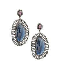 Bavna - Blue Champagne Diamond, Sapphires & Sterling Silver Champ Rose Earrings - Lyst