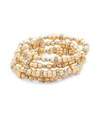 Saks Fifth Avenue - Metallic Crystal Beaded Wrap Bracelet - Lyst