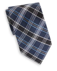 Saks Fifth Avenue - Blue Plaid Silk Tie for Men - Lyst