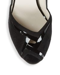 Giorgio Armani - Black Peep Stiletto Leather Pumps - Lyst