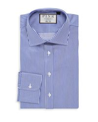 Thomas Pink - Blue Slim Fit Bengal Stripe Shirt for Men - Lyst