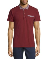 Saks Fifth Avenue - Red Short-sleeve Cotton Polo for Men - Lyst