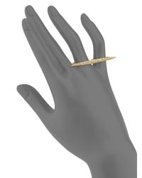 Alexis Bittar - Metallic Miss Havisham Liquid Pavé Crystal Two-finger Ring/goldtone - Lyst