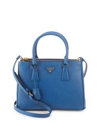 Prada Blue Convertible Leather Tote