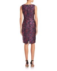 Talbot Runhof | Blue Sleeveless Brocade Sheath Dress | Lyst