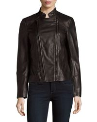 T Tahari - Black Carry Zip-up Leather Jacket - Lyst