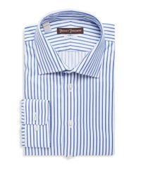 Hickey Freeman - Blue Textured Striped Cotton Dress Shirt for Men - Lyst
