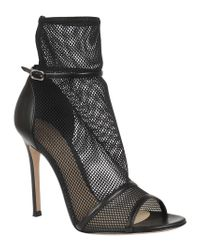 Gianvito Rossi - Black Grid Ankle Boot - Lyst